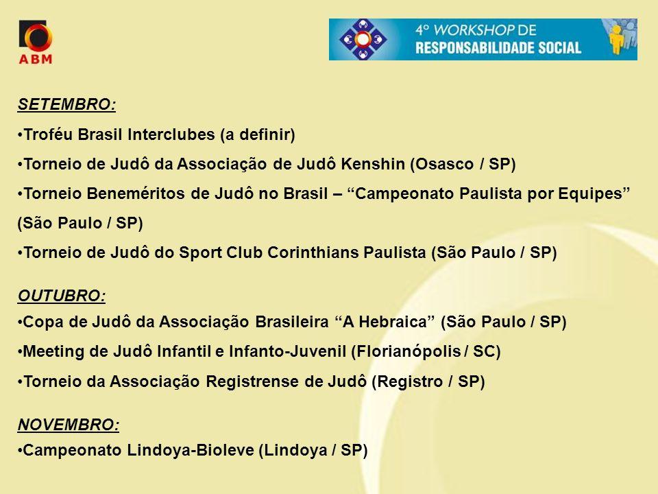 SETEMBRO: Troféu Brasil Interclubes (a definir) Torneio de Judô da Associação de Judô Kenshin (Osasco / SP)