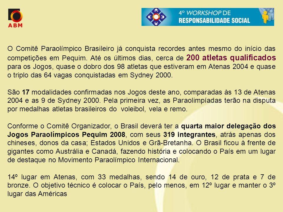 O Comitê Paraolímpico Brasileiro já conquista recordes antes mesmo do início das competições em Pequim. Até os últimos dias, cerca de 200 atletas qualificados para os Jogos, quase o dobro dos 98 atletas que estiveram em Atenas 2004 e quase o triplo das 64 vagas conquistadas em Sydney 2000.