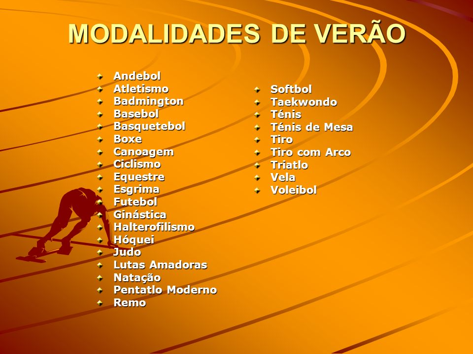 MODALIDADES DE VERÃO Andebol Atletismo Badmington Basebol Basquetebol