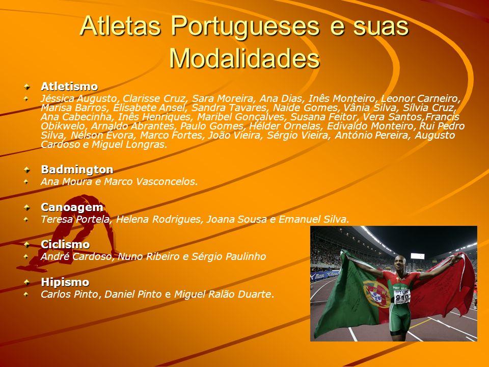 Atletas Portugueses e suas Modalidades
