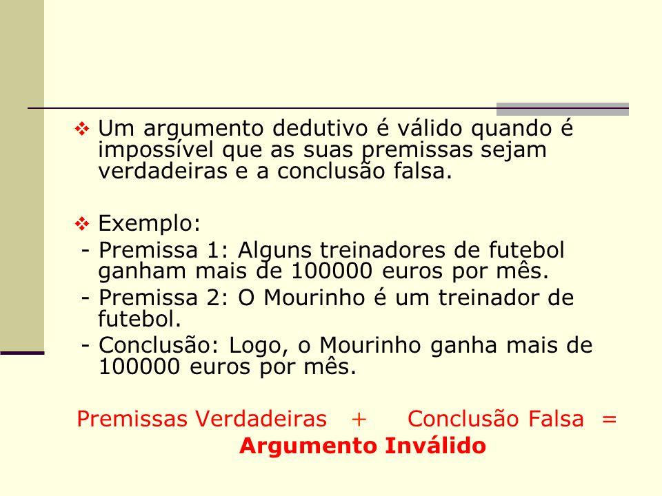 Premissas Verdadeiras + Conclusão Falsa =