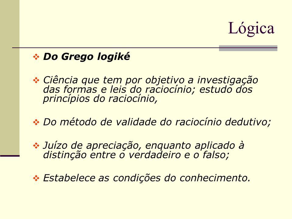 Lógica Do Grego logiké. Ciência que tem por objetivo a investigação das formas e leis do raciocínio; estudo dos princípios do raciocínio,