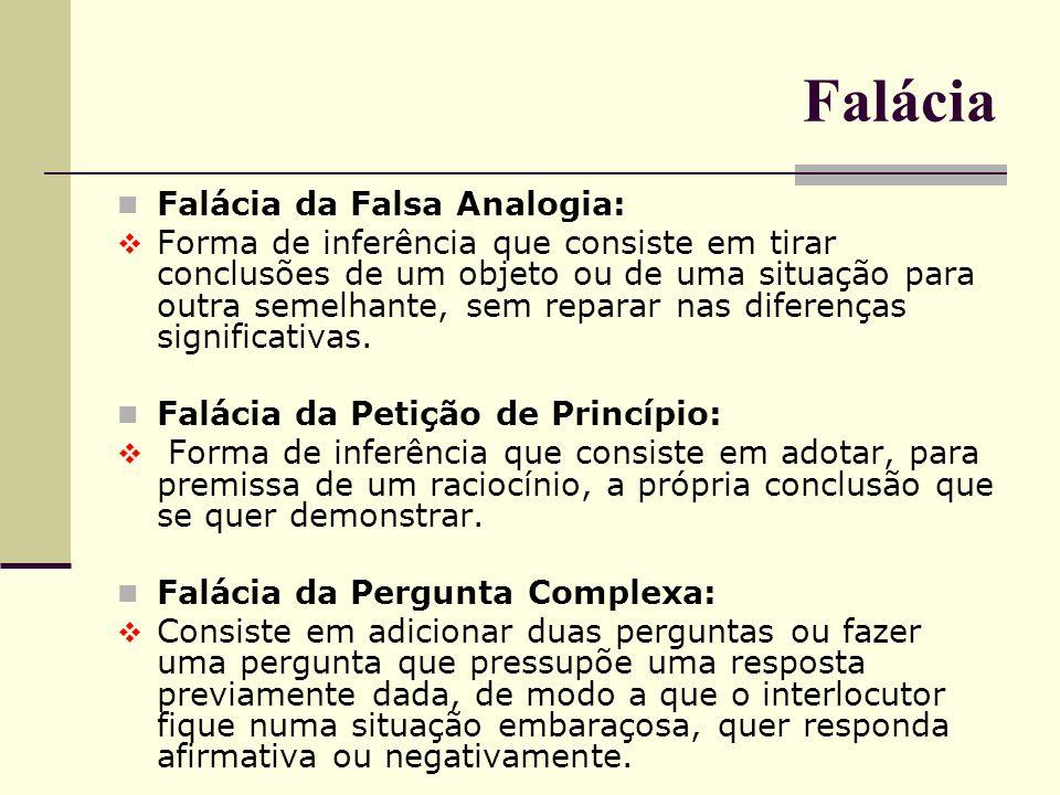 Falácia Falácia da Falsa Analogia: