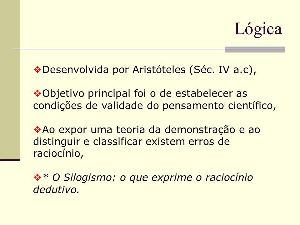Lógica Desenvolvida por Aristóteles (Séc. IV a.c),