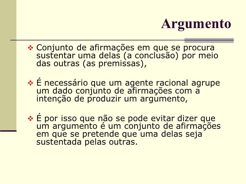 Argumento Conjunto de afirmações em que se procura sustentar uma delas (a conclusão) por meio das outras (as premissas),