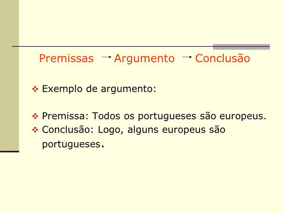 Premissas Argumento Conclusão
