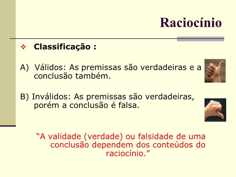 Raciocínio Classificação :