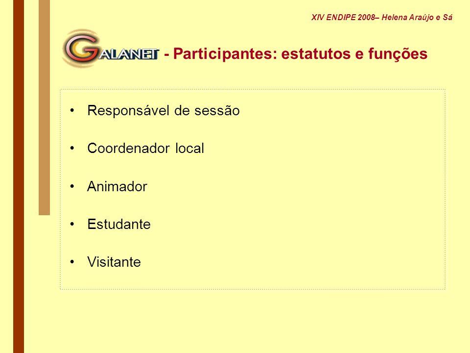 - Participantes: estatutos e funções