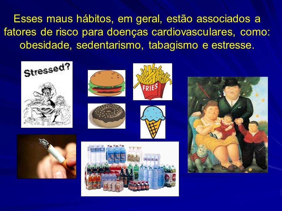 Esses maus hábitos, em geral, estão associados a fatores de risco para doenças cardiovasculares, como: obesidade, sedentarismo, tabagismo e estresse.