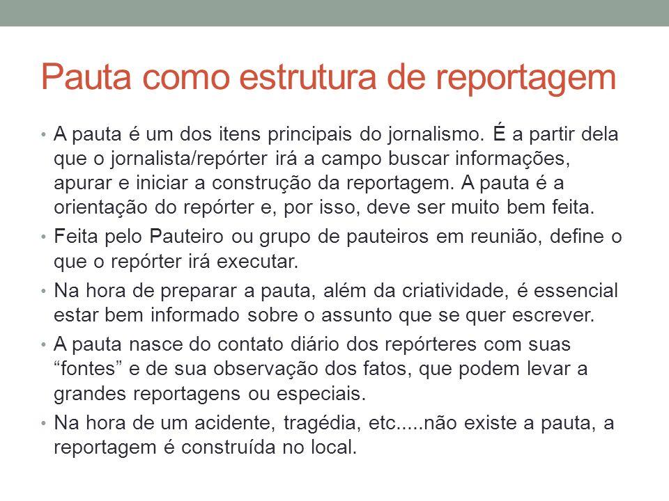 Pauta como estrutura de reportagem
