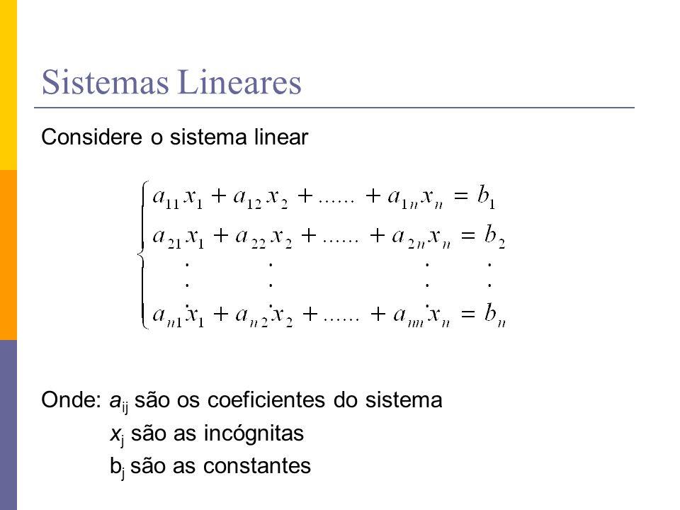 Sistemas Lineares Considere o sistema linear Onde: aij são os coeficientes do sistema xj são as incógnitas bj são as constantes