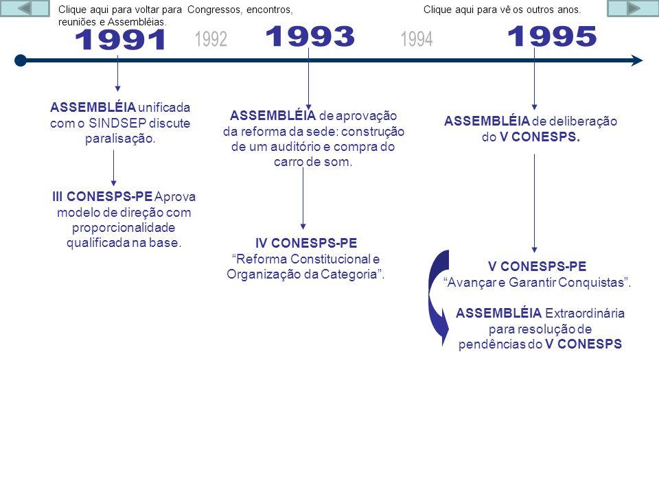 1991 1993 1995 ASSEMBLÉIA unificada com o SINDSEP discute paralisação.