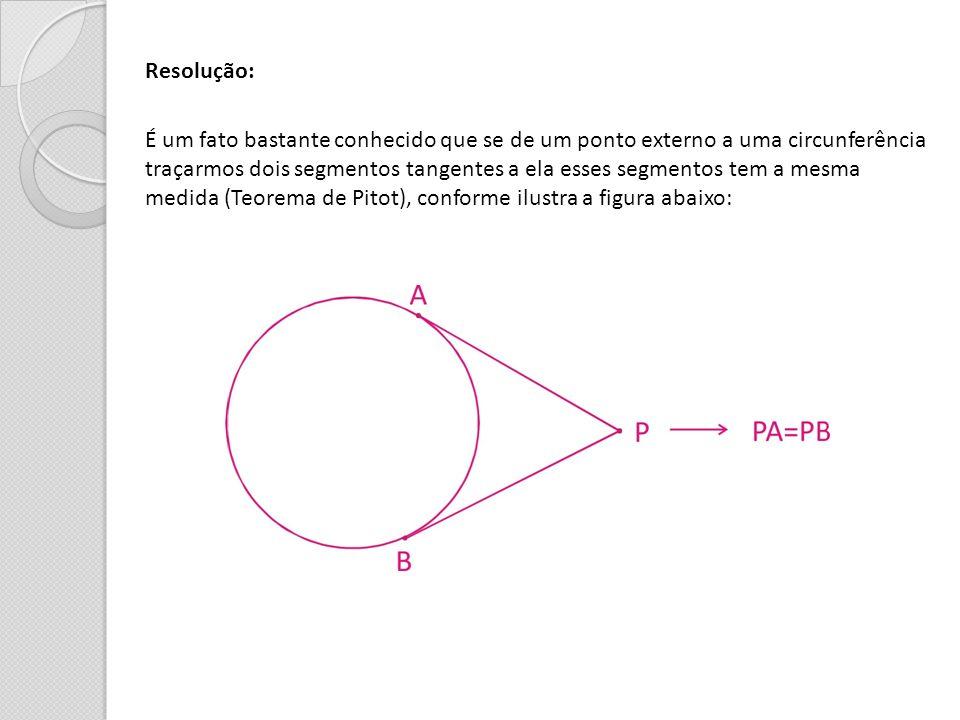 Resolução: É um fato bastante conhecido que se de um ponto externo a uma circunferência.