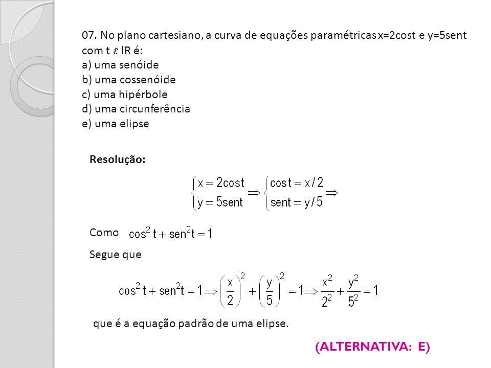 07. No plano cartesiano, a curva de equações paramétricas x=2cost e y=5sent