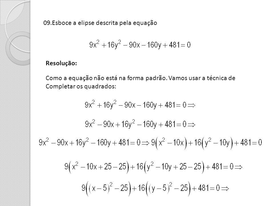 09.Esboce a elipse descrita pela equação
