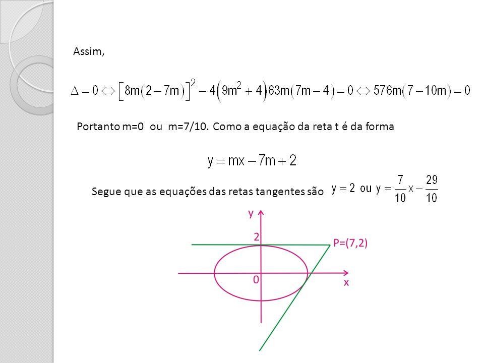 Assim, Portanto m=0 ou m=7/10. Como a equação da reta t é da forma.