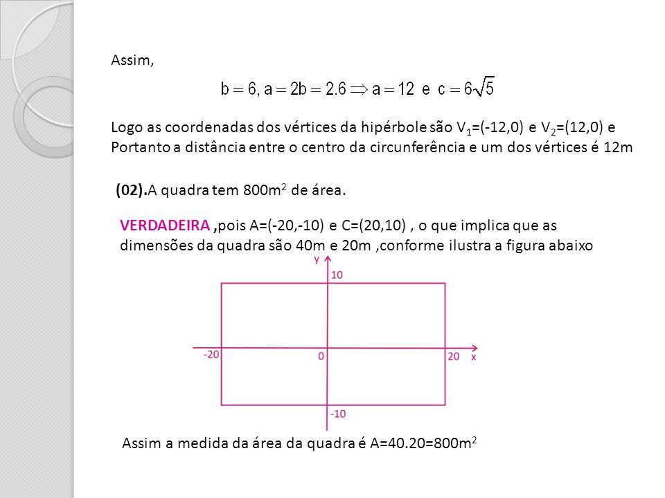 Assim, Logo as coordenadas dos vértices da hipérbole são V1=(-12,0) e V2=(12,0) e.