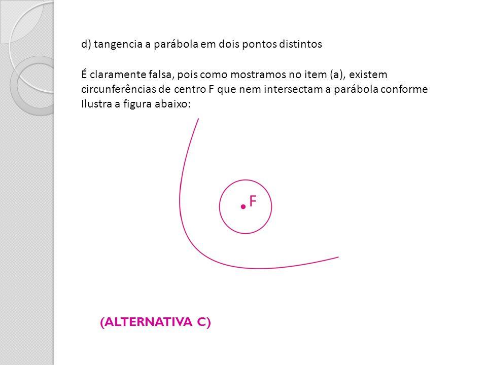 d) tangencia a parábola em dois pontos distintos