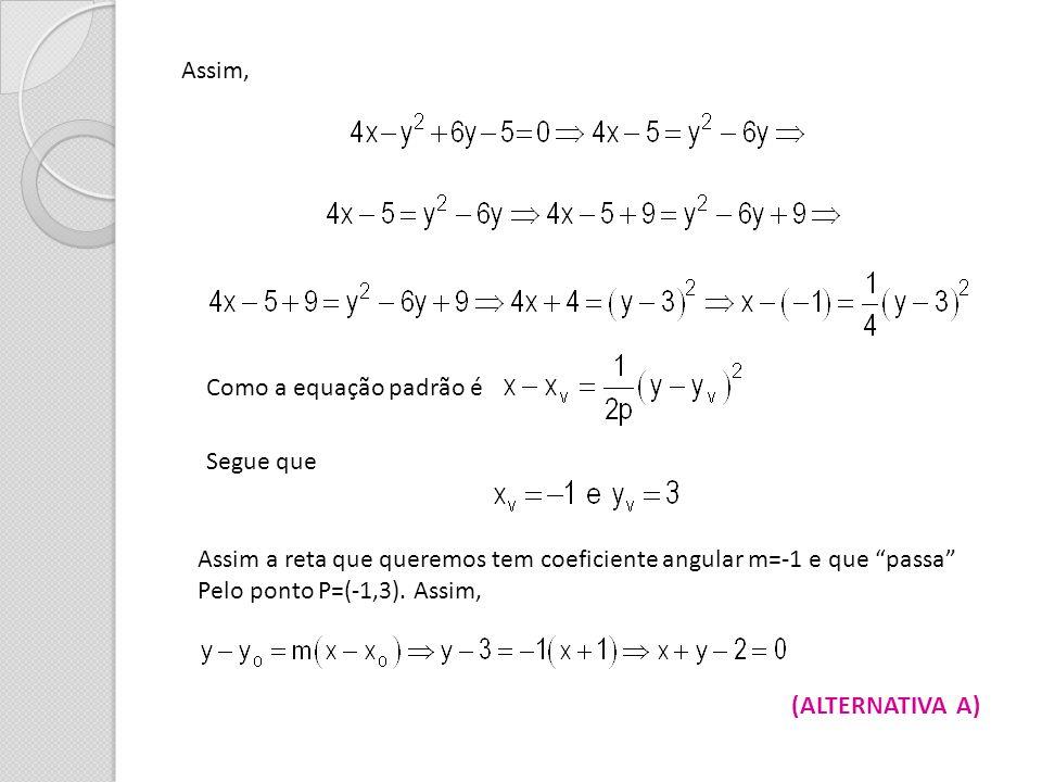 Assim, Como a equação padrão é. Segue que. Assim a reta que queremos tem coeficiente angular m=-1 e que passa
