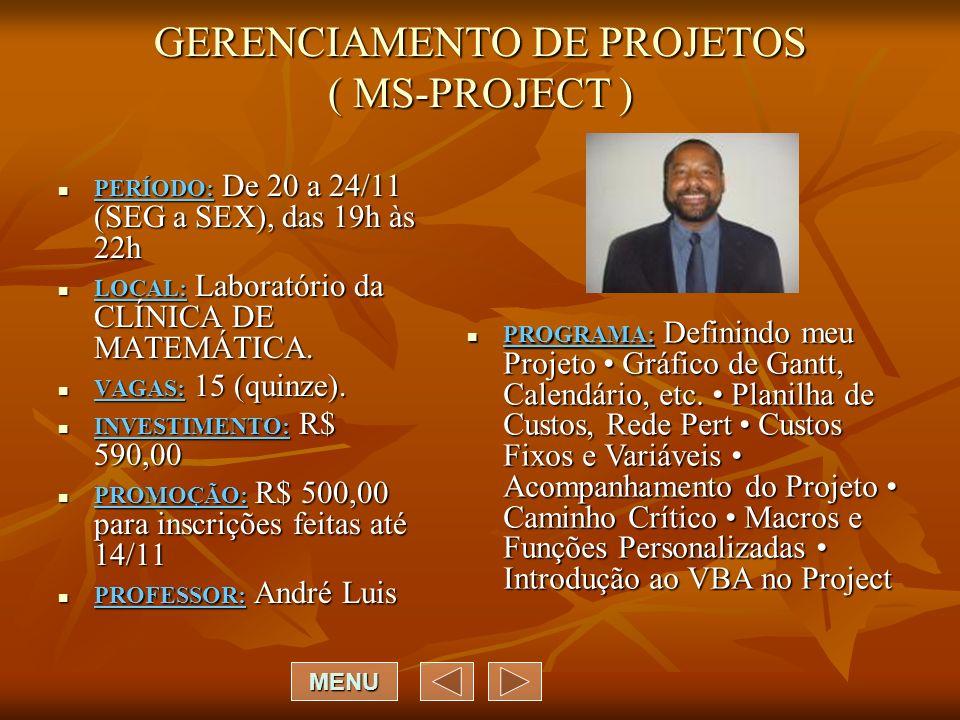 GERENCIAMENTO DE PROJETOS ( MS-PROJECT )