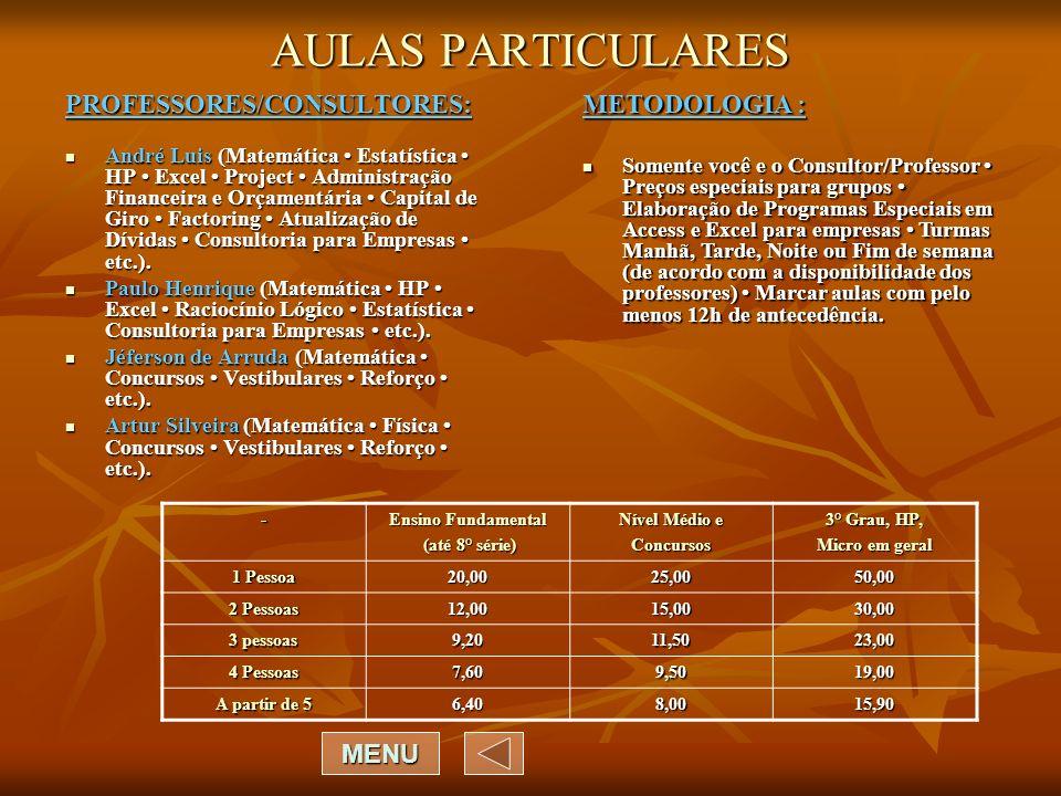 AULAS PARTICULARES PROFESSORES/CONSULTORES: METODOLOGIA : MENU