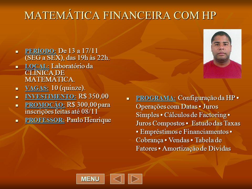 MATEMÁTICA FINANCEIRA COM HP