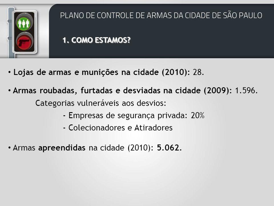 Lojas de armas e munições na cidade (2010): 28.