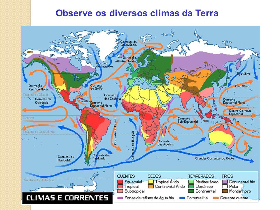 Observe os diversos climas da Terra