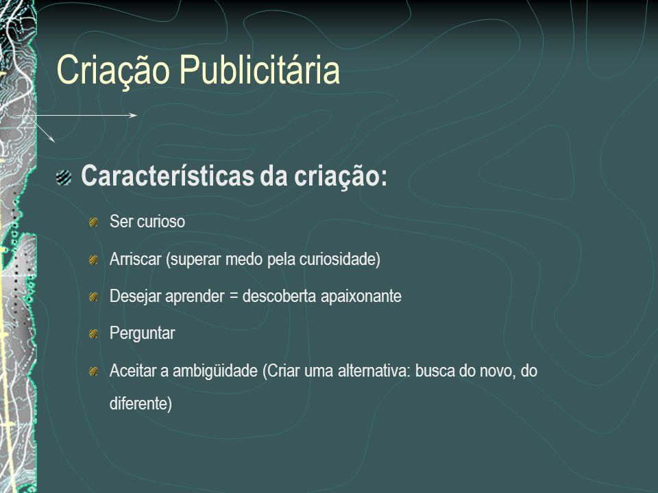 Criação Publicitária Características da criação: Ser curioso