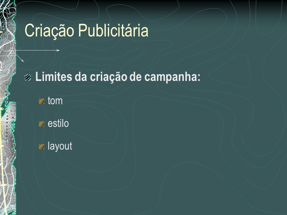 Criação Publicitária Limites da criação de campanha: tom estilo layout