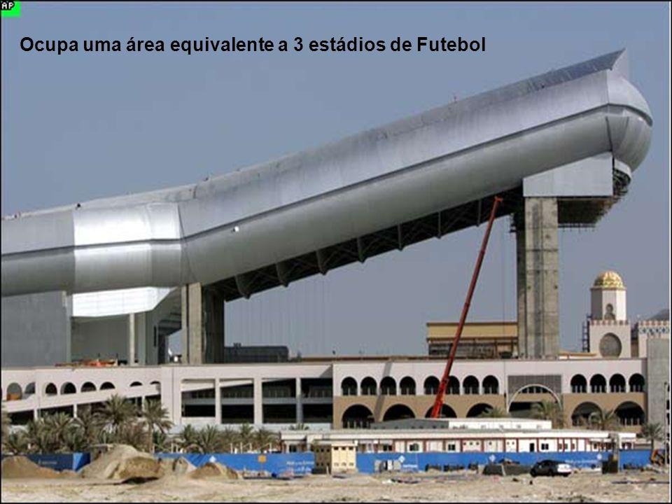 Ocupa uma área equivalente a 3 estádios de Futebol