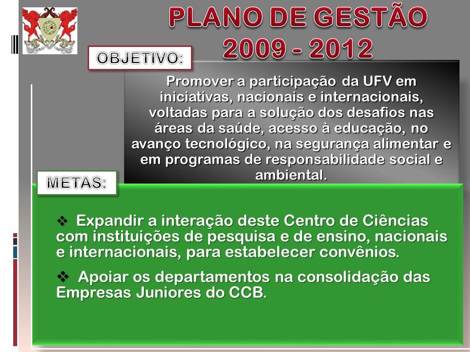 PLANO DE GESTÃO 2009 - 2012 OBJETIVO: METAS: