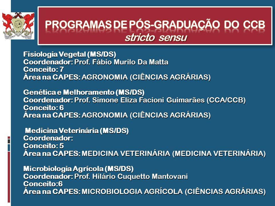 ProgramaS de Pós-Graduação do CCB stricto sensu