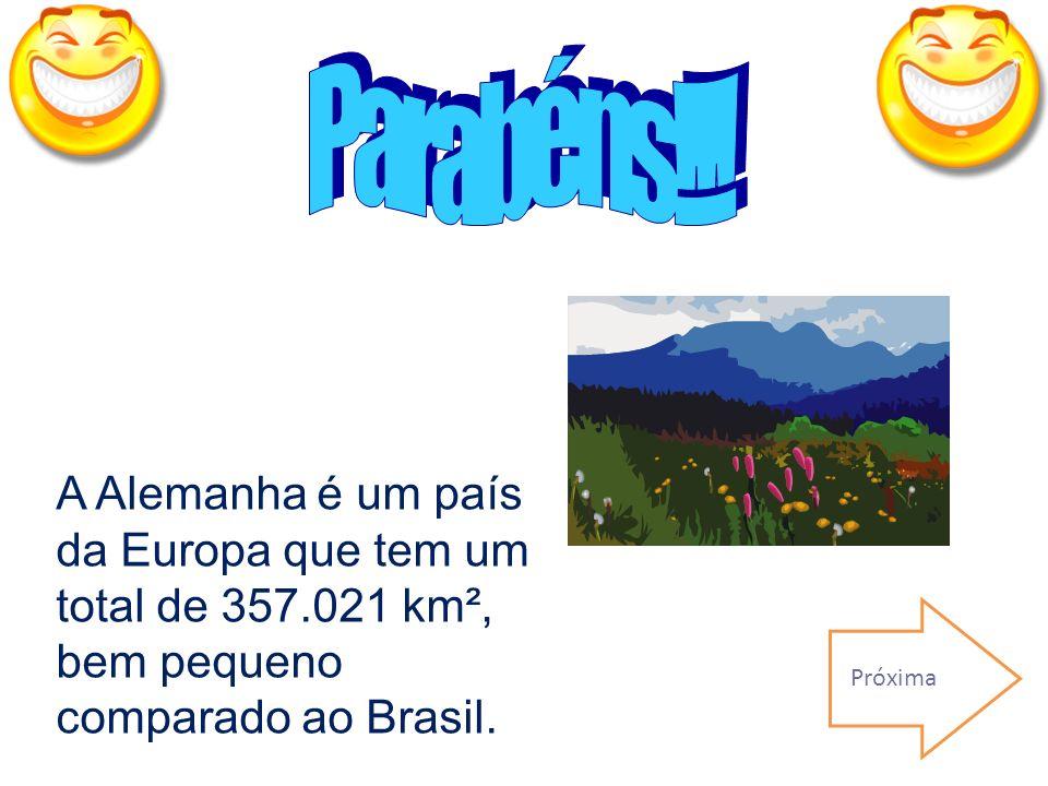 Parabéns!!! A Alemanha é um país da Europa que tem um total de 357.021 km², bem pequeno comparado ao Brasil.