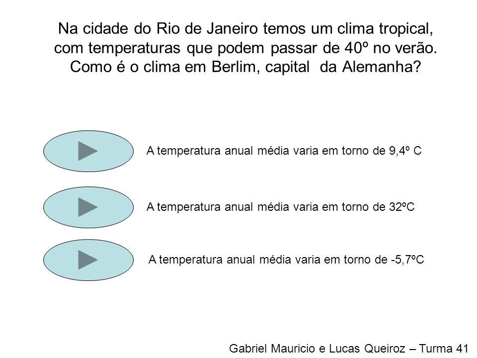 Na cidade do Rio de Janeiro temos um clima tropical, com temperaturas que podem passar de 40º no verão. Como é o clima em Berlim, capital da Alemanha