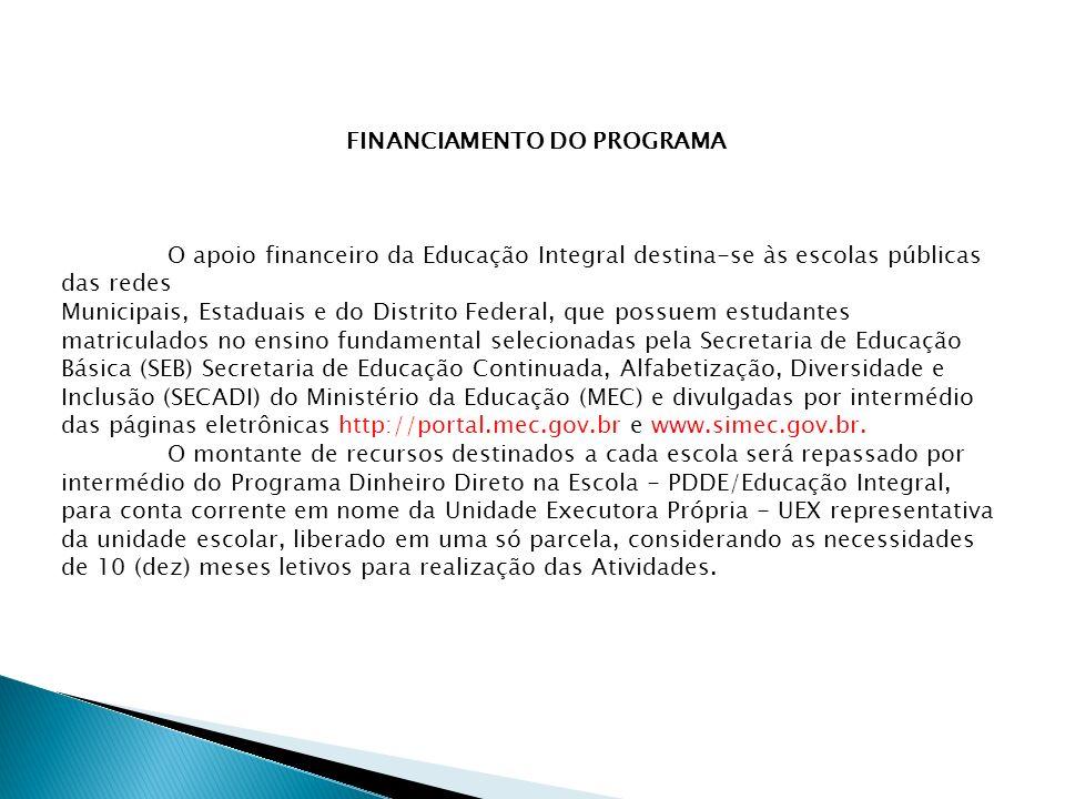 FINANCIAMENTO DO PROGRAMA