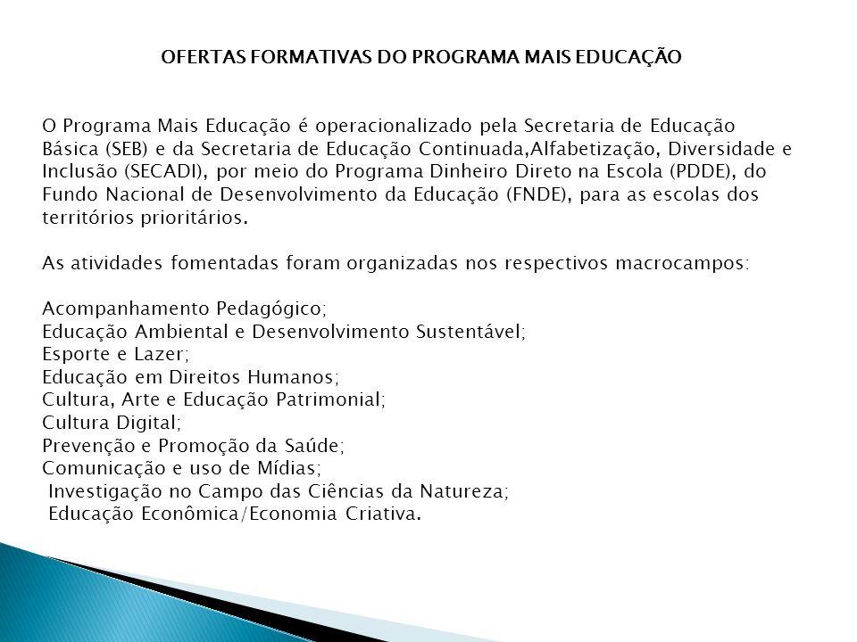 OFERTAS FORMATIVAS DO PROGRAMA MAIS EDUCAÇÃO