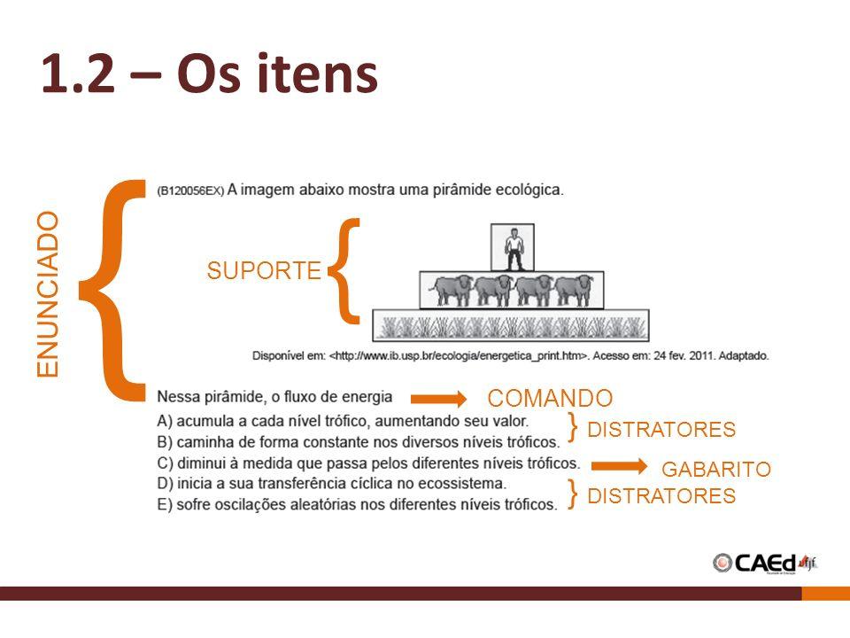 1.2 – Os itens { ENUNCIADO SUPORTE COMANDO GABARITO } DISTRATORES