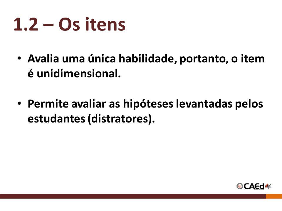 1.2 – Os itens Avalia uma única habilidade, portanto, o item é unidimensional.