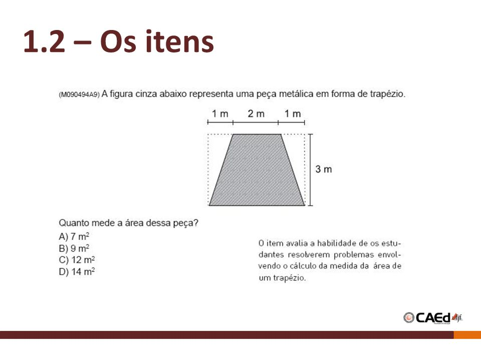 1.2 – Os itens