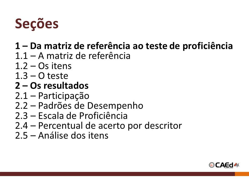 Seções 1 – Da matriz de referência ao teste de proficiência