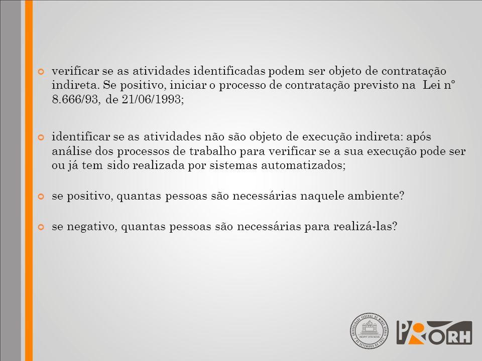 verificar se as atividades identificadas podem ser objeto de contratação indireta. Se positivo, iniciar o processo de contratação previsto na Lei nº 8.666/93, de 21/06/1993;