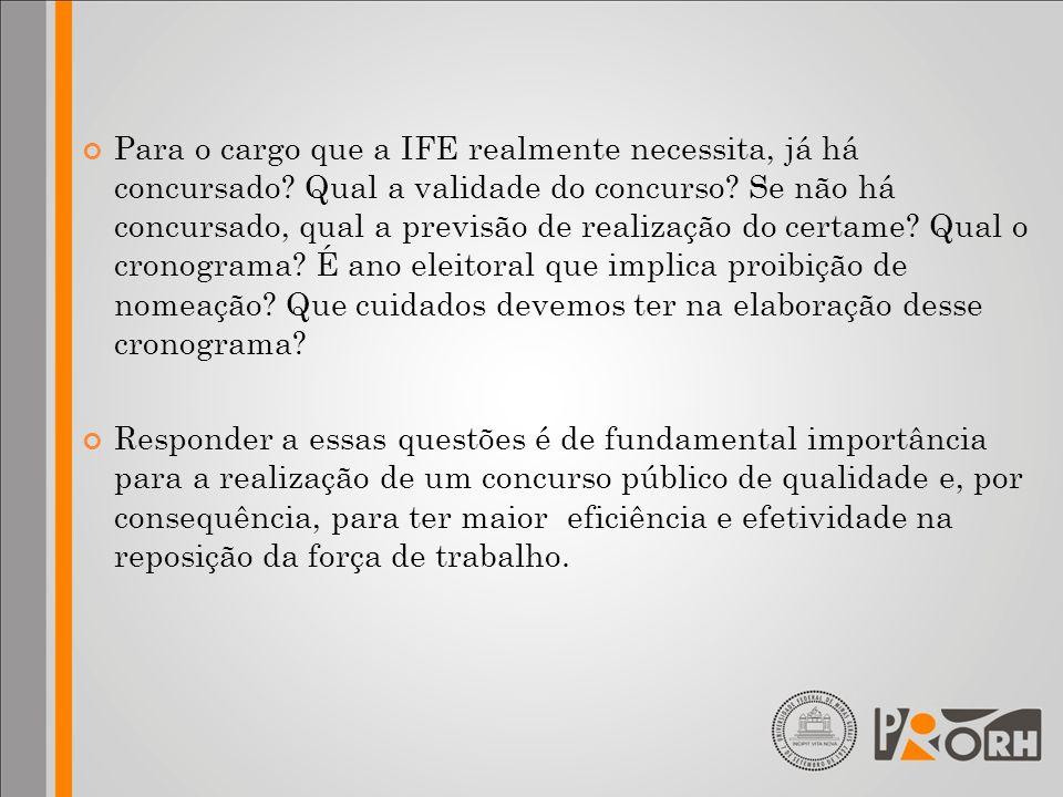 Para o cargo que a IFE realmente necessita, já há concursado