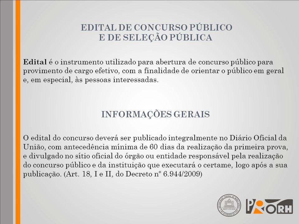 EDITAL DE CONCURSO PÚBLICO E DE SELEÇÃO PÚBLICA