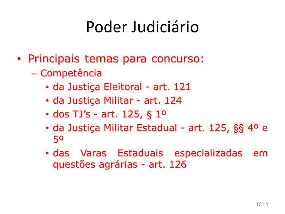Poder Judiciário Principais temas para concurso: Competência