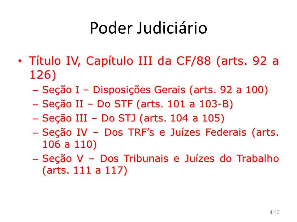 Poder Judiciário Título IV, Capítulo III da CF/88 (arts. 92 a 126)