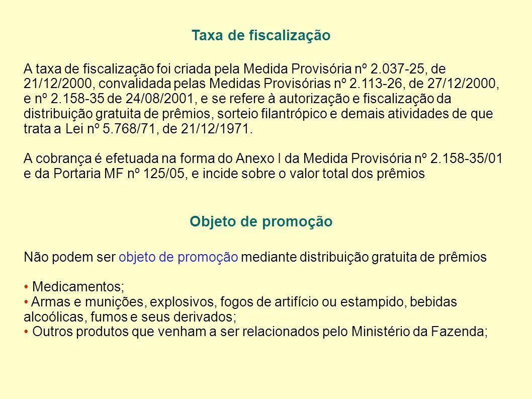 Taxa de fiscalização Objeto de promoção