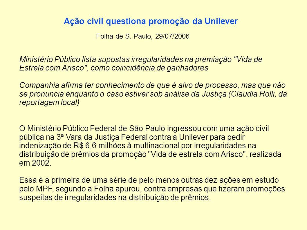 Ação civil questiona promoção da Unilever