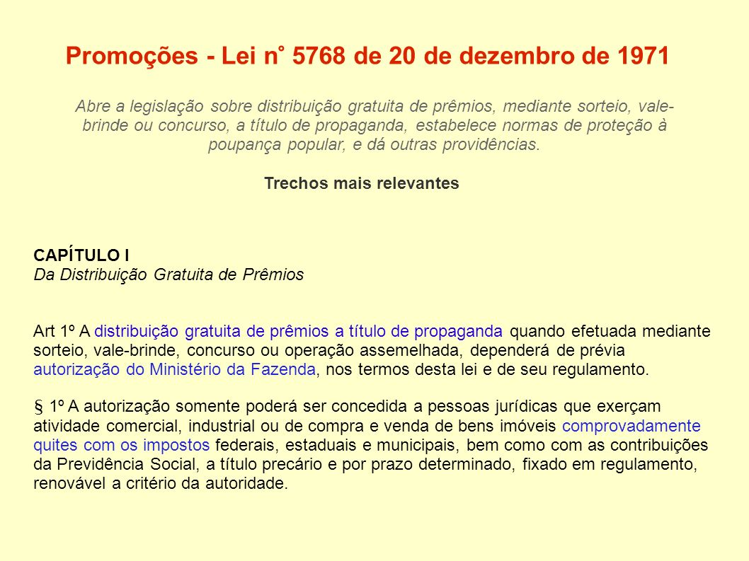 Promoções - Lei n° 5768 de 20 de dezembro de 1971