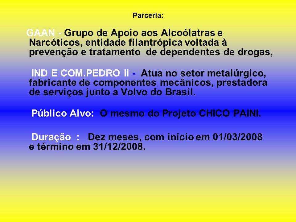 Público Alvo: O mesmo do Projeto CHICO PAINI.